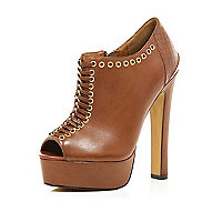 Brown eyelet laced peep toe shoe boots