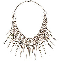 Silver tone multi spike necklace