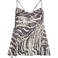 Brown sequin snake print swing cami top