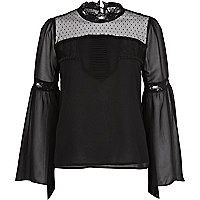 Black Chelsea Girl victoriana high neck top
