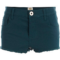 Dark green frayed denim shorts