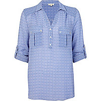 Blue tile print linen shirt