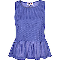 Blue Chelsea Girl sleeveless peplum top