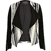 Beige stripe contrast sleeve waterfall jacket