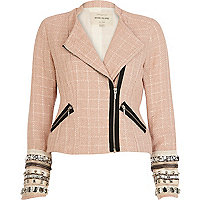 Pink tweed embellished cuff biker jacket