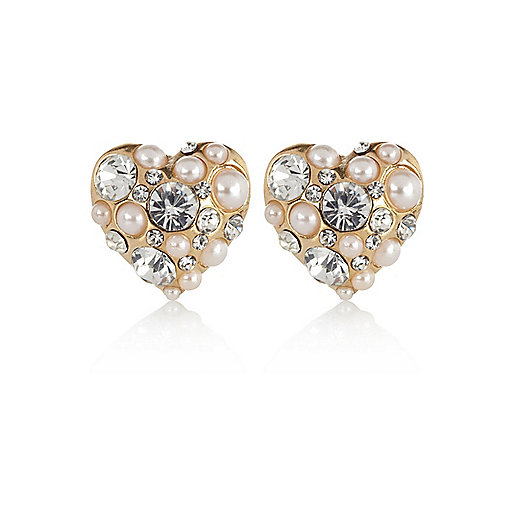 Gold tone embellished heart stud earrings