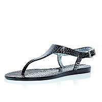 Black croc jelly sandals