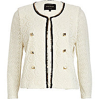 Cream lace metallic trim jacket