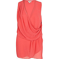 Coral sleeveless wrap top