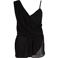 Black asymmetric sleeveless wrap top