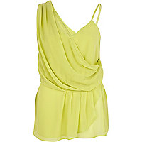 Lime asymmetric sleeveless wrap top