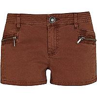 Brown cargo hot pants