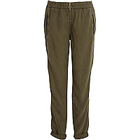 Khaki zip front turn up trousers