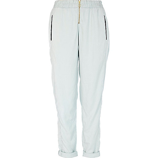 Light blue zip front smart jogger trousers
