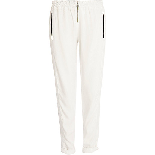 White zip front trousers