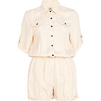Light orange casual shirt playsuit
