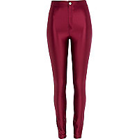 Dark pink wet look tube pants