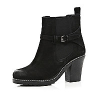 Black buckle block heel chelsea boots