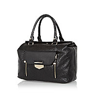Black tumbled leather handbag