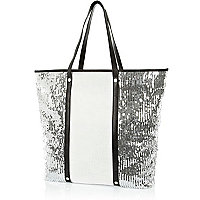 White sequin panel tote bag