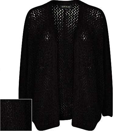 Black long sleeve fluffy cardigan