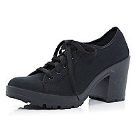 Black canvas block heel trainers