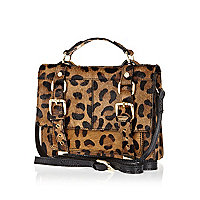 Brown leopard leather and pony skin satchel