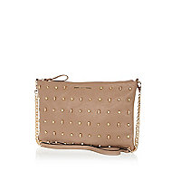 Beige multi stud and skull cross body bag