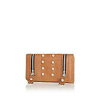 Light brown leather studded purse