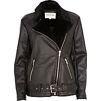 Black shearling lined flight jacket