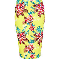 Yellow tropical print tube skirt