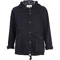 Navy casual hooded jacket