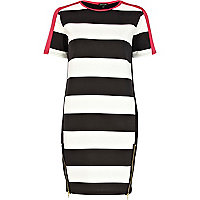 Black and white stripe t-shirt dress