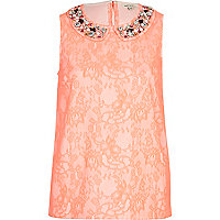 Pink lace embellished collar shell top