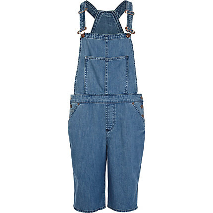 Mid wash long denim short dungarees