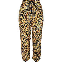 Brown animal print ruched hem trousers