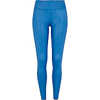 Blue wet look high waisted leggings