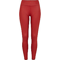 Red wet look high waisted leggings