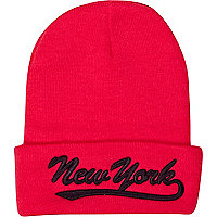 Pink New York beanie hat