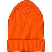 Orange ribbed beanie hat
