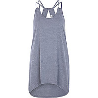 Dark grey cut out dip hem cami top
