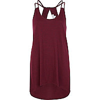 Dark red cut out dip hem cami top
