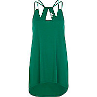 Green cut out dip hem cami top