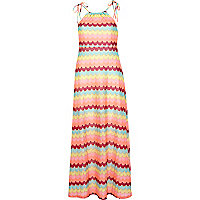 Pink Chelsea Girl zig zag maxi dress