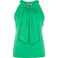 Green Chelsea Girl frill front sleeveless top