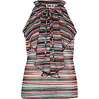 Multicoloured stripe Chelsea Girl frill top