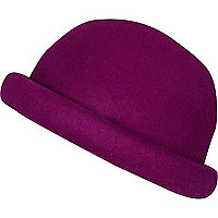 Purple rolled brim bowler hat