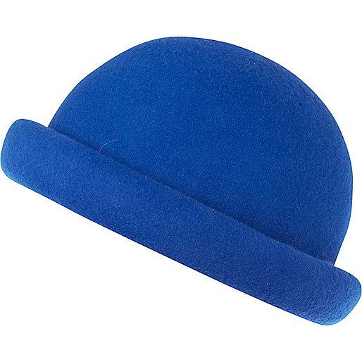 Bright blue rolled brim bowler hat