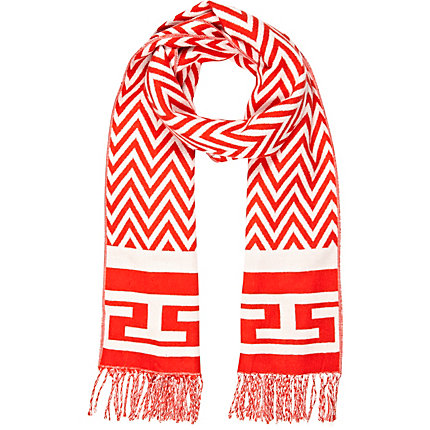 Orange chevron print blanket scarf