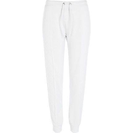 White quilted side panel joggers